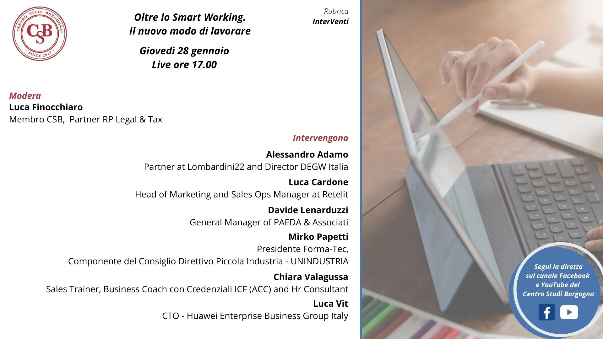 """Centro studi Borgogna """"Oltre lo Smart Working: il nuovo modo di lavorare"""""""
